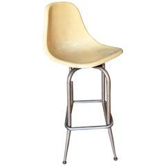 Midcentury Eames Style Fiberglass Shell Swivel Bar Stool