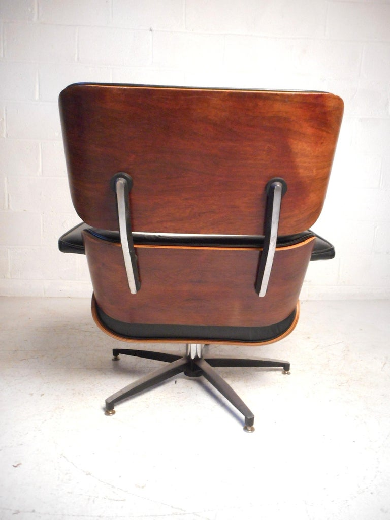 Midcentury Eames Style Swivel Lounge Chair And Ottoman For