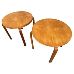 Midcentury Early Alvar Aalto Pair of Side Lamp Tables, Original Rare