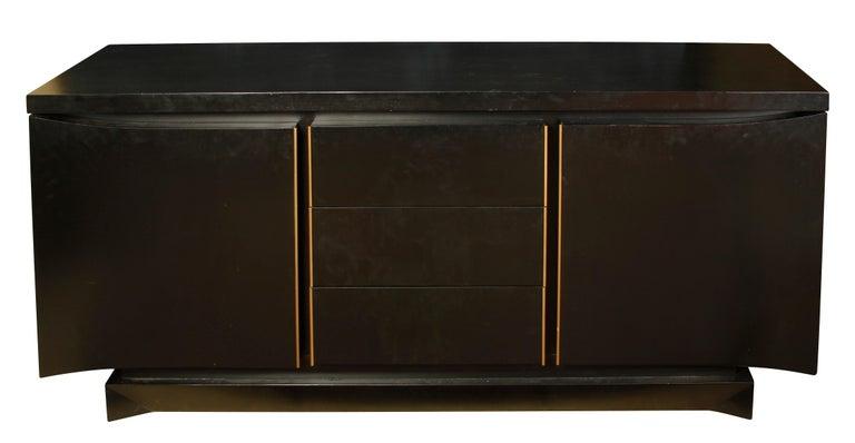 Painted Mid Century Ebonized Credenza For Sale