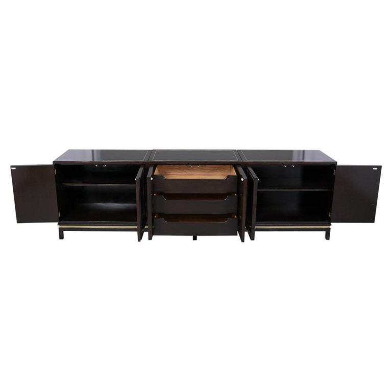 Plated Mid-Century Modern Ebonized Credenza For Sale