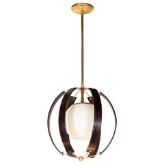 Midcentury Ebonized Walnut, Brass and Opaline Glass Chandelier by Lightolier
