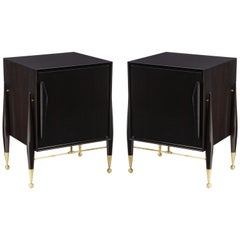 Midcentury Ebonized Walnut Nightstands