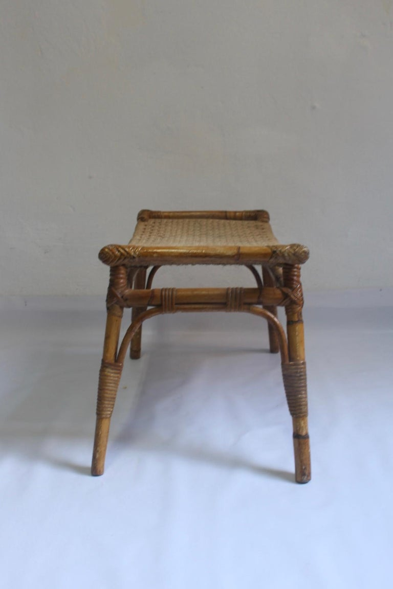 Midcentury Egyptian Revival Bamboo Curved Stool 1950s At