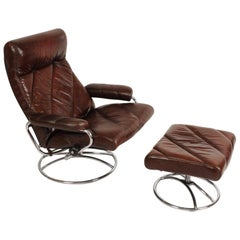 Midcentury Ekornes Stressless Brown Leather Lounge Chair and Ottoman