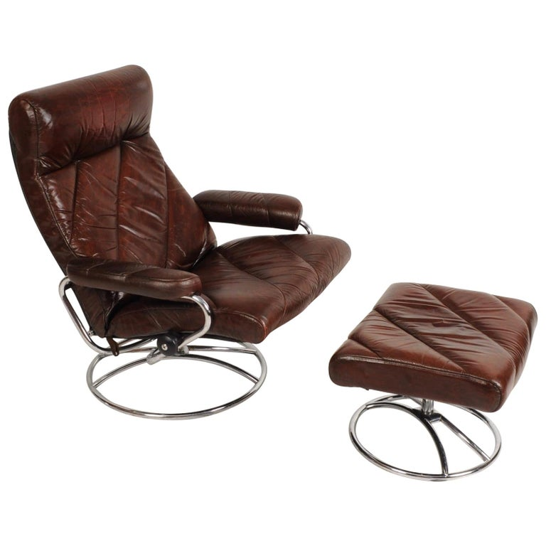 Awesome Midcentury Ekornes Stressless Brown Leather Lounge Chair And Ottoman Dailytribune Chair Design For Home Dailytribuneorg
