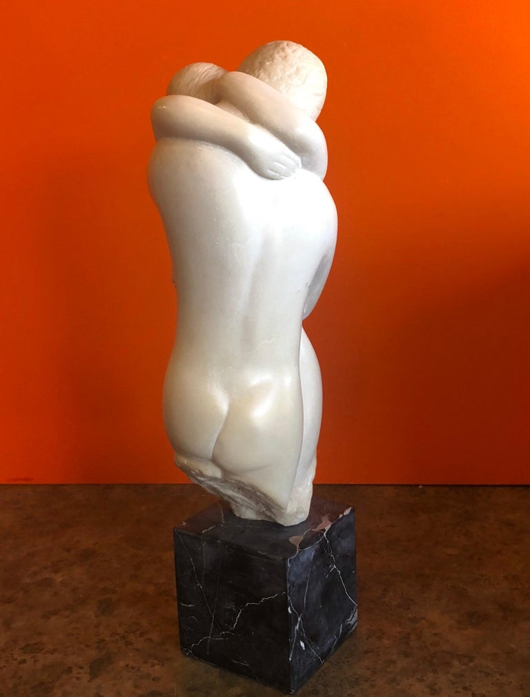 Cast Midcentury Embracing Nudes Resin Sculpture on Marble Base by Peggy Mach For Sale