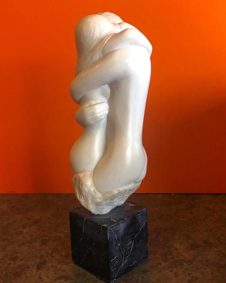 Midcentury Embracing Nudes Resin Sculpture on Marble Base by Peggy Mach In Good Condition For Sale In San Diego, CA