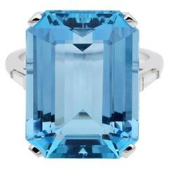 Midcentury Emerald Cut 21.30 Carat Natural Aquamarine Diamond Ring