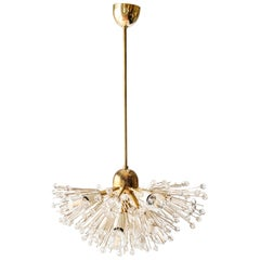 Midcentury Emil Stejnar for Rupert Nikoll Brass and Crystal Snowball Chandelier