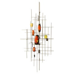 Mid Century Enamel and Steel Wall Hanging Sculpture