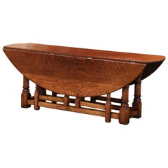Midcentury English Carved Chestnut Gate Leg Drop Leaf Coffee Table