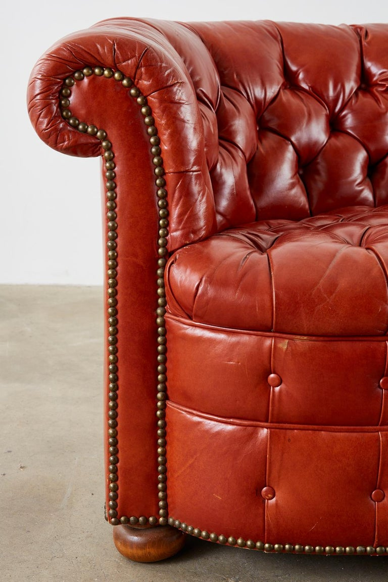 Midcentury English Chesterfield Style Curved Leather Settee For Sale 6