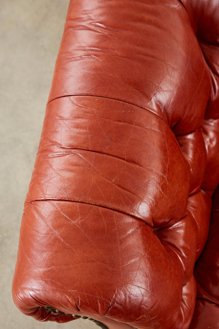 Midcentury English Chesterfield Style Curved Leather Settee For Sale 8