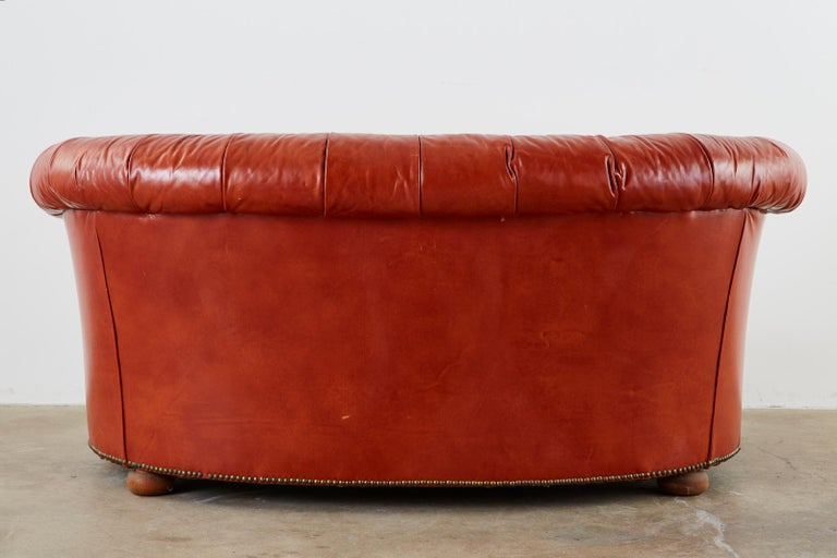 Midcentury English Chesterfield Style Curved Leather Settee For Sale 14