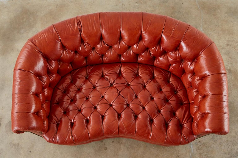 Brass Midcentury English Chesterfield Style Curved Leather Settee For Sale