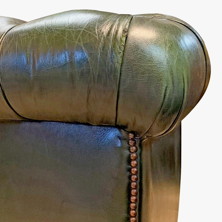 Midcentury English Emerald Green Chesterfield Sofa For Sale 3