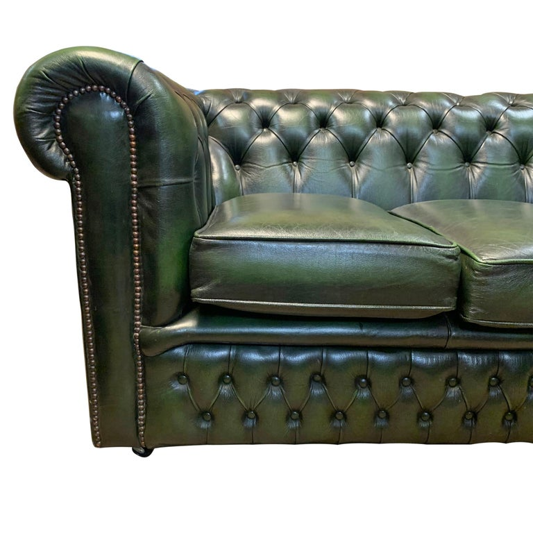 British Midcentury English Emerald Green Chesterfield Sofa For Sale