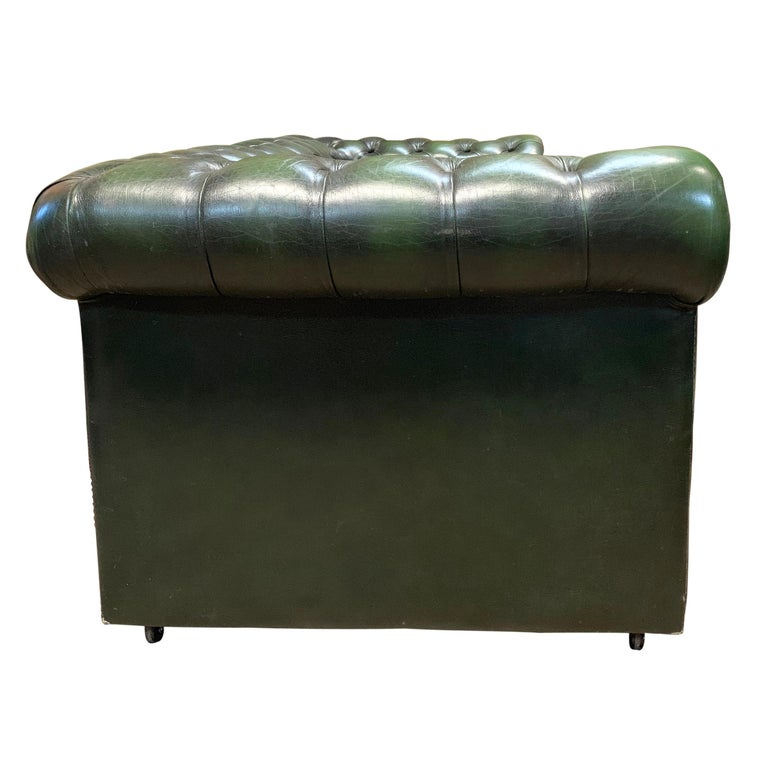 Leather Midcentury English Emerald Green Chesterfield Sofa For Sale