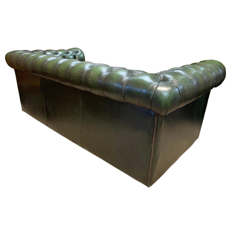 Midcentury English Emerald Green Chesterfield Sofa For Sale 1