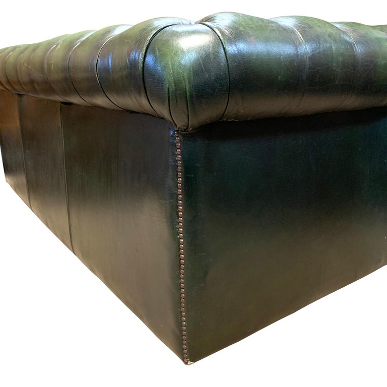 Midcentury English Emerald Green Chesterfield Sofa For Sale 2