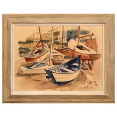 Midcentury English Oil on Board Boat Painting Signed J.C. Wright Dated 1948