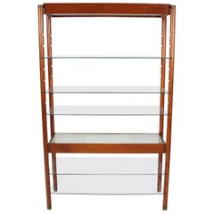 Midcentury English Wooden and Glass Bookshelf with Light Up Shelves