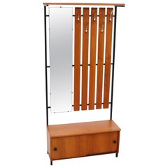 Mid-Century Entry Way Coat Rack with Mirror and Storage Bench