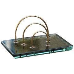 Midcentury Envelope Post Fontana Arte Desk 1960 Brass and Crystal Often Green