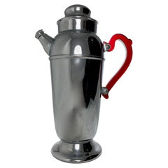 Mid-Century Era Art Deco Style Chrome and Ruby Red Bakelite Cocktail Shaker