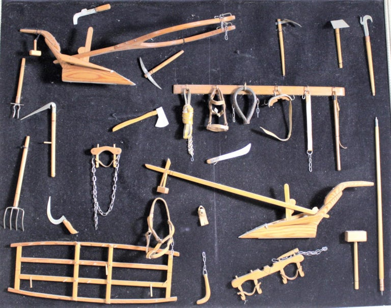Midcentury Era Folk Art Made Collection of Miniature Antique Farm Implements For Sale 3
