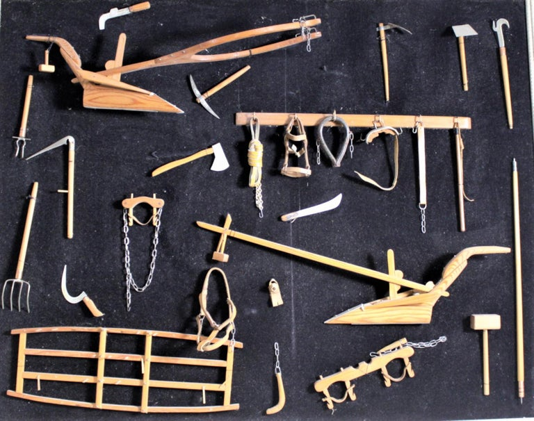Canadian Midcentury Era Folk Art Made Collection of Miniature Antique Farm Implements For Sale