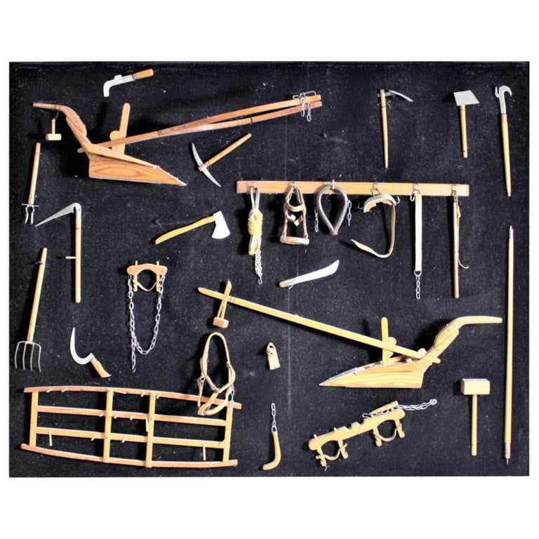 Midcentury Era Folk Art Made Collection of Miniature Antique Farm Implements For Sale