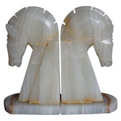 Midcentury Era Pair of Handcrafted Art Deco Style Horse Sculpture Onyx Bookends