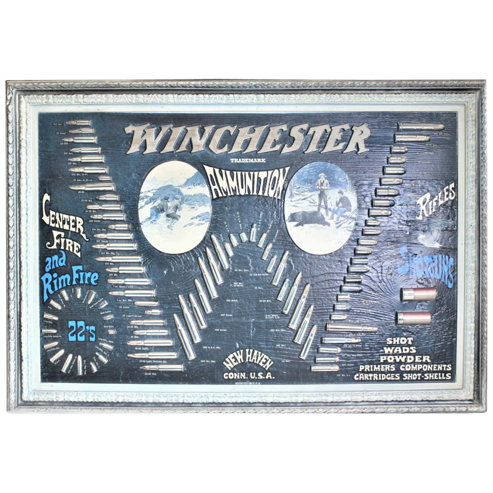 Midcentury Era Winchester Molded Ammunition Advertising Store Wall Display
