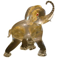 Midcentury Ercole Barovier Gold Glass Murano Elephant Sculpture, Italy, 1930s