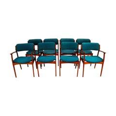Midcentury Erik Buch for Oddense Maskinsnedkeri A/S Teak Dining Chairs Model 49