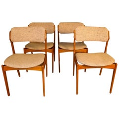 Midcentury Erik Buch for Oddense Maskinsnedkeri AS Teak Dining Chairs Model 49