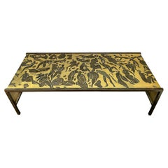 Mid Century Etched Metal Coffee Table