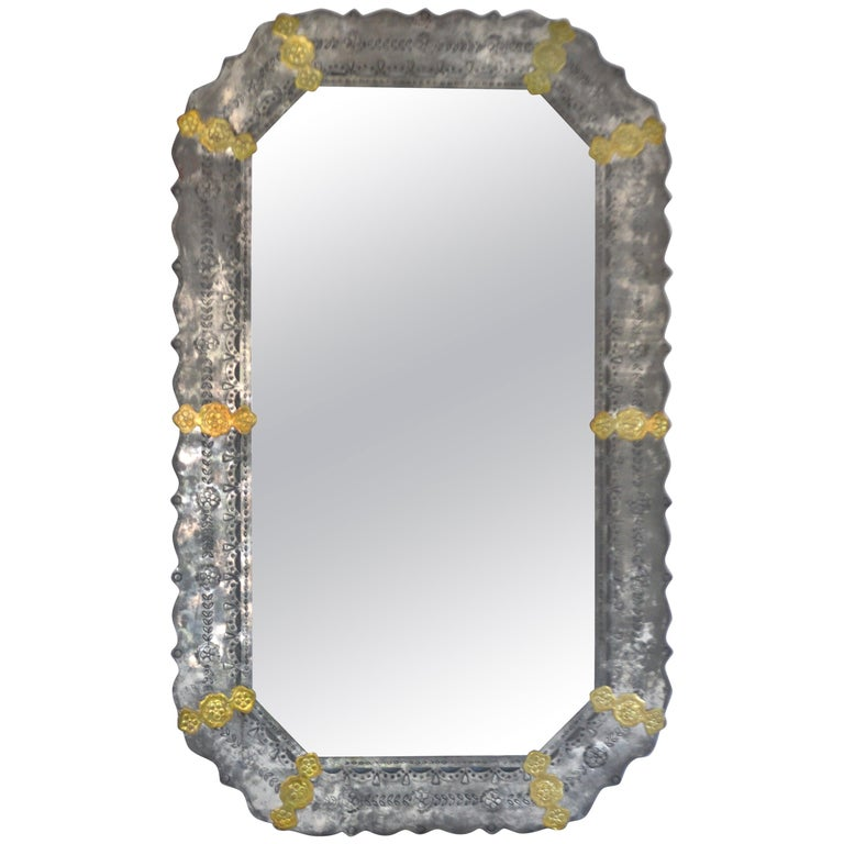 Midcentury Etched Metal Wall Mirror For Sale
