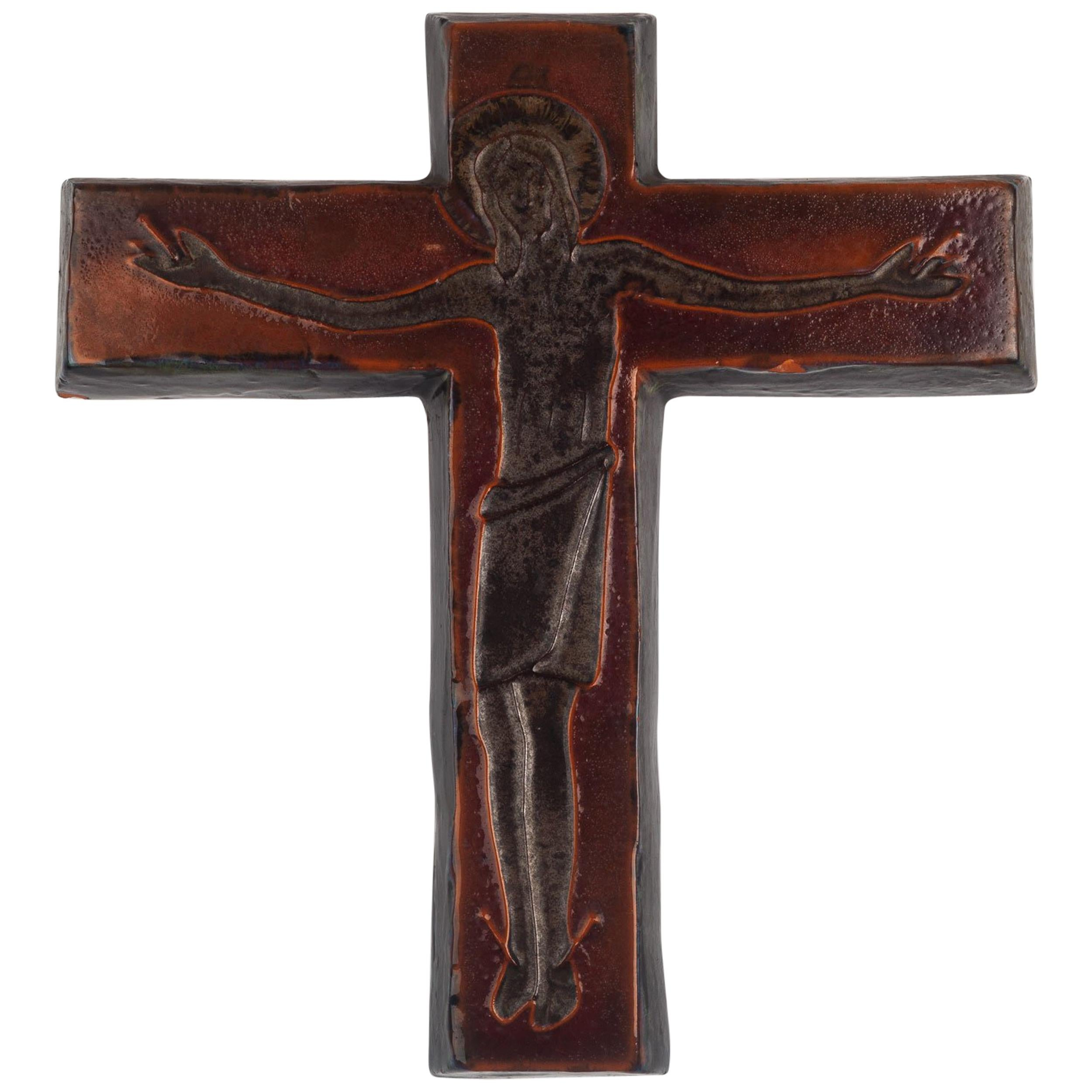 Art High Quality Materials Modernist Crucifix Copper On Wood Enamelling French Enamel