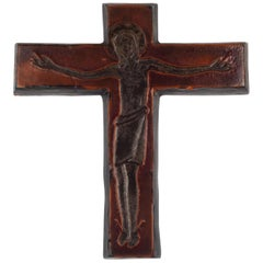 Midcentury European Wall Cross, Brown, Black, Textured Ceramic, Handmade, 1970