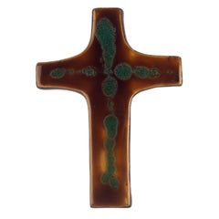 Mid-Century European Wall Cross, Brown, Green, Glazed Ceramic, Handmade, 1970