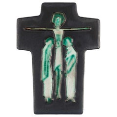 Midcentury European Wall Cross, Ceramic, Grey, Blue, Green, White, 1960s