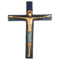 Midcentury European Wall Cross, Dark and Light Blue, Brown, 1970s