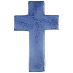 Midcentury European Wall Cross, Glazed Lavender, 1980s