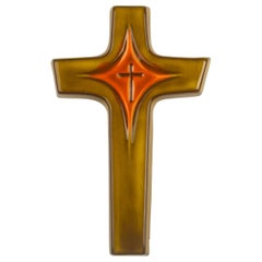 Midcentury European Wall Cross, Green, Orange, Glazed Ceramic, Handmade, 1970