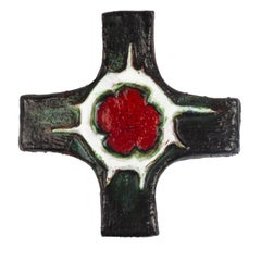Midcentury European Wall Cross, Green, Red, Textured Ceramic, Handmade, 1970
