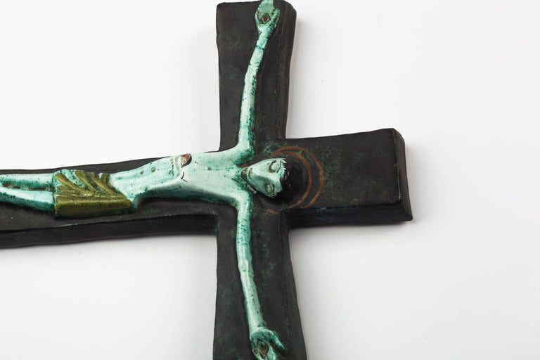 Midcentury European Wall Cross, Hand Painted Textured Ceramic, 1970s For Sale 2
