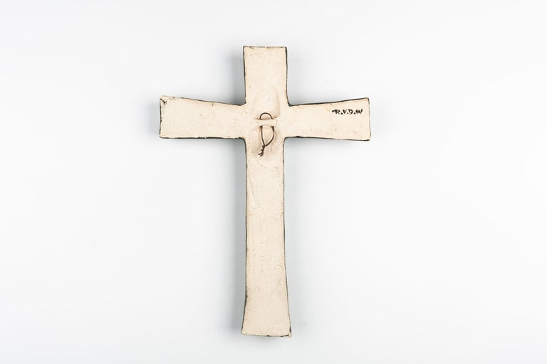 Midcentury European Wall Cross, Hand Painted Textured Ceramic, 1970s For Sale 4